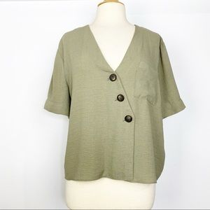 TopShop olive green asymmetrical button front top